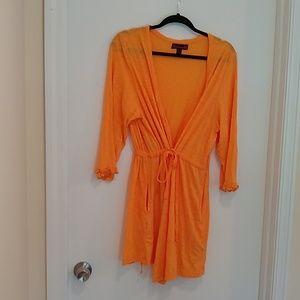 Betseyville orange wrap swim cover up